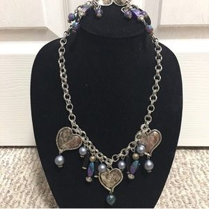 Beaded with Metal Necklace and Matching. earrings